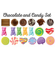 Different design of chocolate and candy set vector image vector image