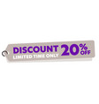 discount 20 percent off limited time only tag