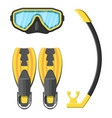 diving mask flippers and snorkel vector image vector image