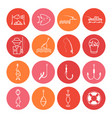 fishing thin line icons set vector image