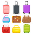 flat set of various travel bags suitcases vector image