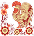 Graphic rooster figure red-yellow ornament vector image