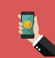 hand holding smartphone with bitcoin currency vector image vector image