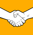 handshake white silhouette with black contour on vector image