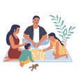 happy family playing board game sitting on rug vector image vector image