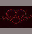 heartbeat cardiogram graph with red heart vector image vector image
