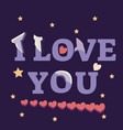 i love you lettering in paper style with hearts vector image vector image