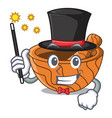 magician wooden kitchen mortar isolated on mascot vector image