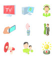 mass publication icons set cartoon style vector image vector image