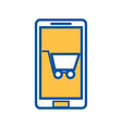 mobile phone shopping cart ecommerce digital vector image