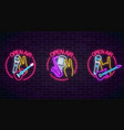 neon open air signs collection with microphones vector image vector image