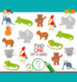 one a kind task for kids with animals vector image vector image