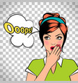 oops comic pop art woman vector image vector image