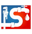 plumbing pipe wrench and water faucet symbol vector image vector image