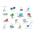 polygonal set of different subjects work end home vector image vector image