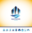Real estate skyscraper building logo vector image
