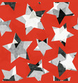 red star geometric seamless pattern with grunge vector image
