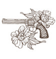 revolver and peonies contour for tattoo print for vector image vector image