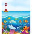 sea animals swimming under ocean vector image vector image
