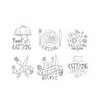 set of monochrome logos for catering companies vector image vector image