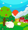 Sheeps running in the field vector image vector image