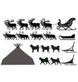 silhouettes of deer sleds and dog sleds vector image vector image