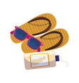 solar blocker bottle with sandals and sunglasses vector image vector image