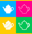 tea maker sign four styles of icon on four color vector image