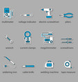 the electricians tools icon set vector image vector image