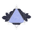 triangle with rose flowers and leaves vector image vector image