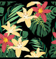 tropical floral greenery seamless pattern black vector image vector image