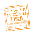 usa passport stamp isolated on white immigration vector image