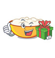 with gift cottage cheese mascot cartoon vector image vector image