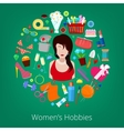 Woman Hobby Elements Set Icons vector image