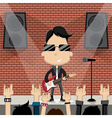 young guy playing guitar on stage vector image