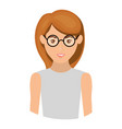 colorful portrait half body of woman with glasses vector image