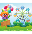 A clown with balloons at the back of an empty vector image