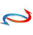 arrows blue red heating and air conditioning vector image vector image