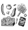 barbecue grill set in vintage style drawn hand vector image