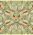 beige and orange floral doodle pattern vector image vector image