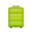 bright green cloth suitcase on wheels flat vector image