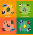 car auto service banner card set isometric view vector image
