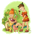 children play with toys mothers and daughters vector image vector image
