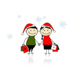 Christmas gifts Family with shopping bags vector image vector image