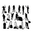 cleaning service activity silhouettes vector image