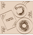 coffee donut and menu drawn on a beige background vector image