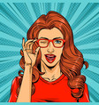 comic pretty winking red hair woman vector image vector image