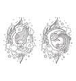 cute princess mermaid and fantasy fish vector image vector image