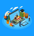 e-learning characters isometric composition vector image vector image