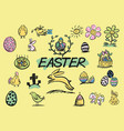 easter hand drawn doodles vector image